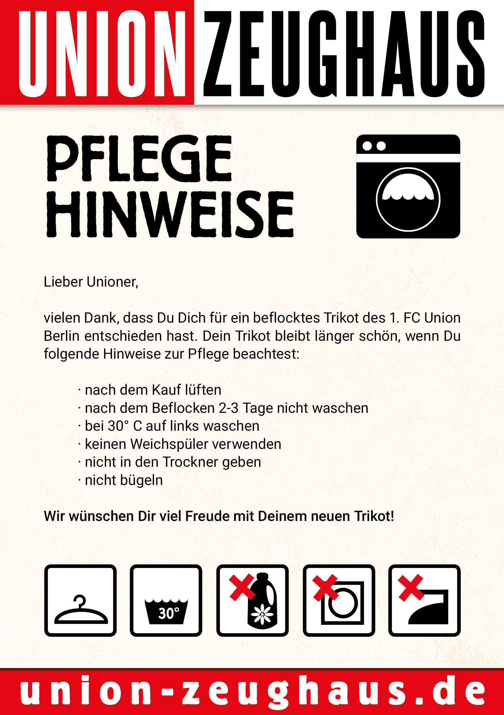 Waschzettel zum Trikot: Icons & Layout