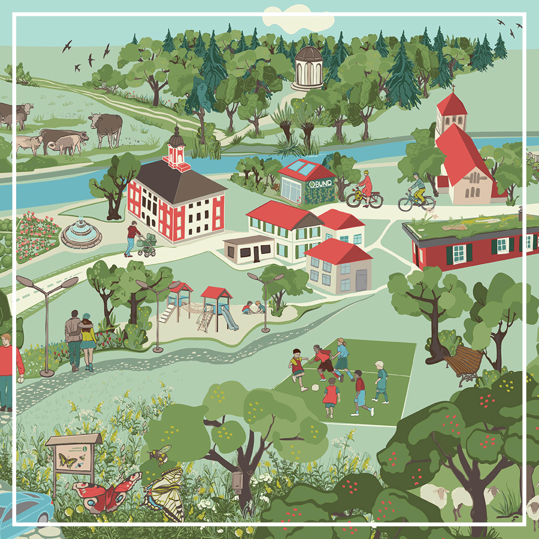 Wimmelbild: Kommunale Grünflächen und Artenschutz