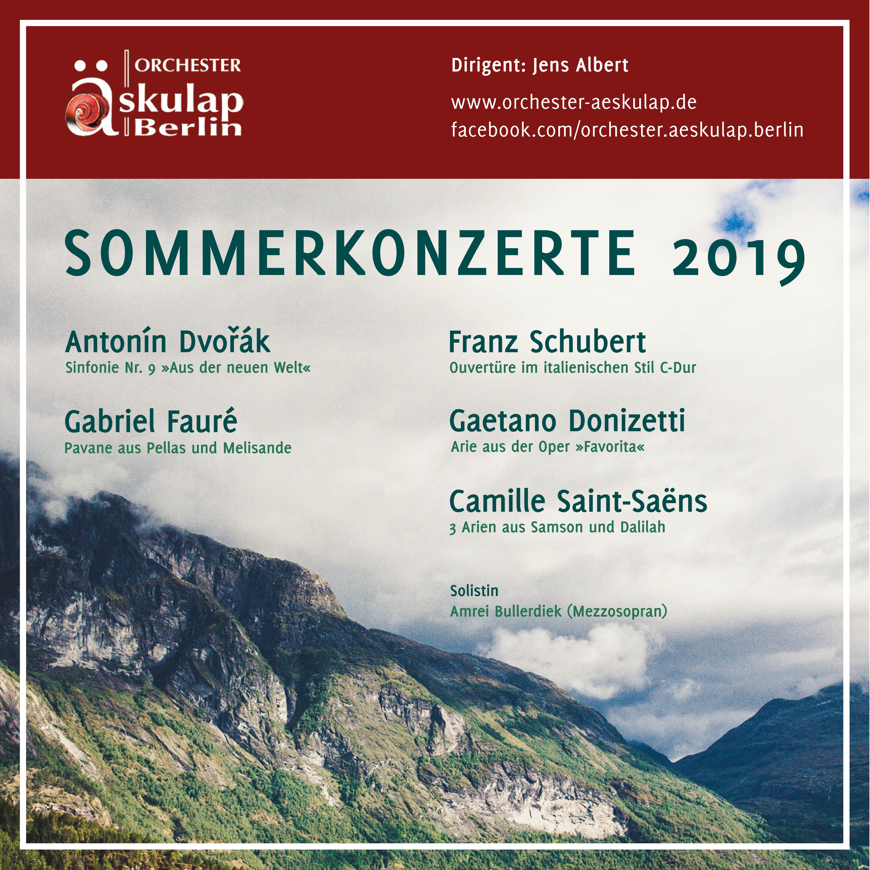 Layout Flyer und Plakate für die Konzerte des Orchesters Äskulap