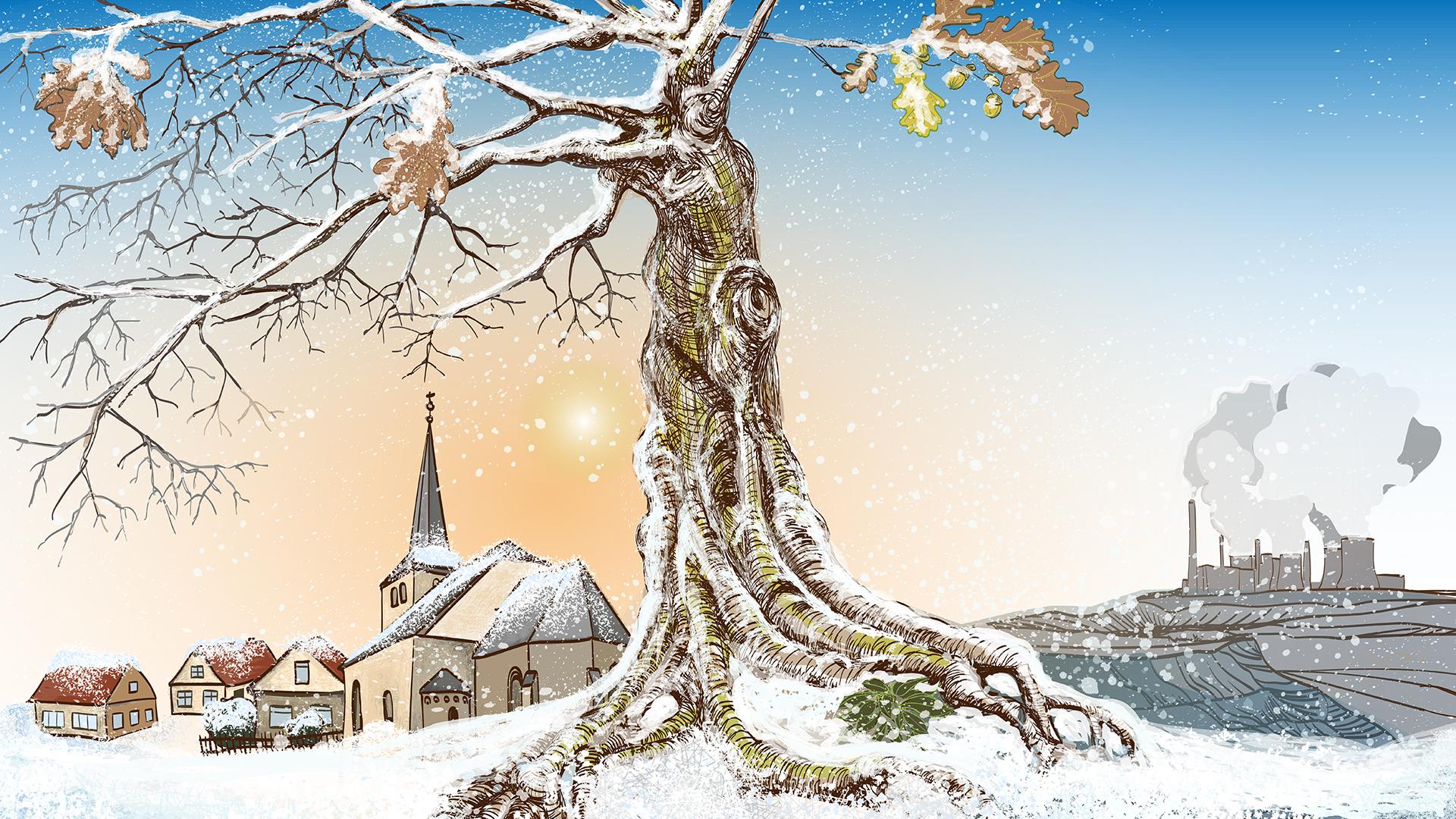 Hambacher Forst: Alle Dörfer bleiben / Wintermotiv